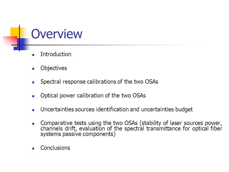 References Calibration of optical spectrum analyzers, IEC 62129 Ed.