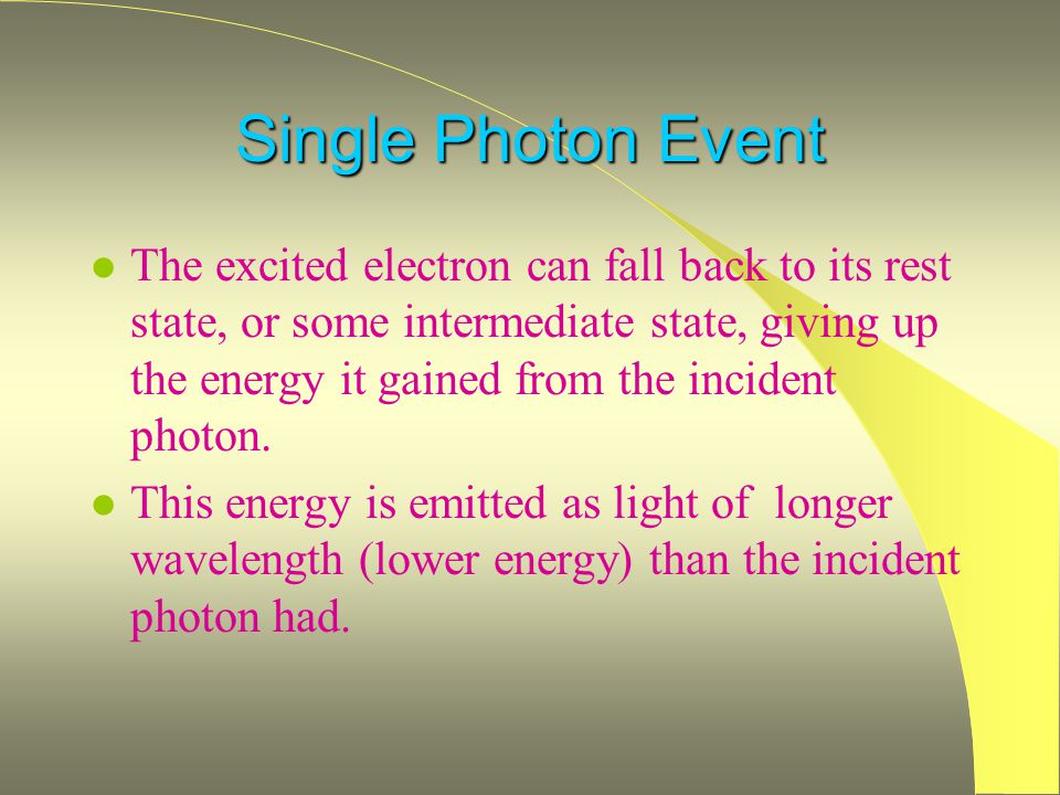 Single Photon Event l The excited electron can fall back to its rest state, or some intermediate state, giving up the energy it gained from the incident photon.