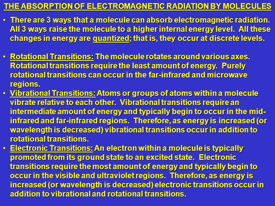 There are 3 ways that a molecule can absorb electromagnetic radiation.