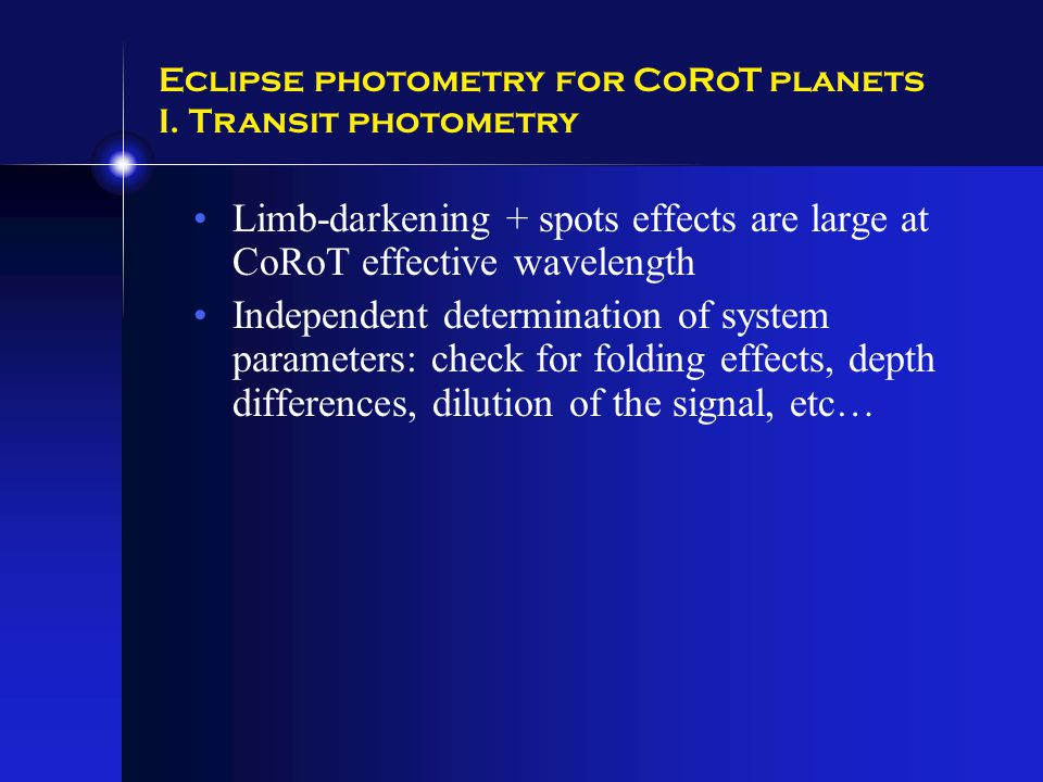 Eclipse photometry for CoRoT planets I.