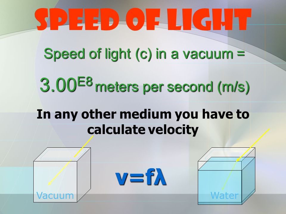 Speed of Light Speed of light (c) in a vacuum = 3.00 E8 meters per second (m/s) VacuumWater In any other medium you have to calculate velocity v=fλ v=fλ