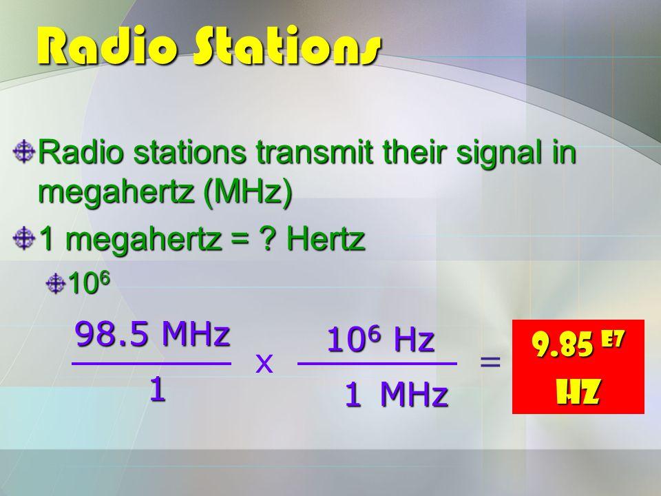 Radio Stations Radio stations transmit their signal in megahertz (MHz) 1 megahertz = .