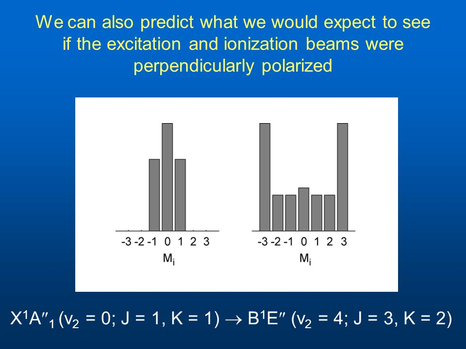 We can also predict what we would expect to see if the excitation and ionization beams were perpendicularly polarized X 1 A  1 (v 2 = 0; J = 1, K = 1)  B 1 E  (v 2 = 4; J = 3, K = 2)