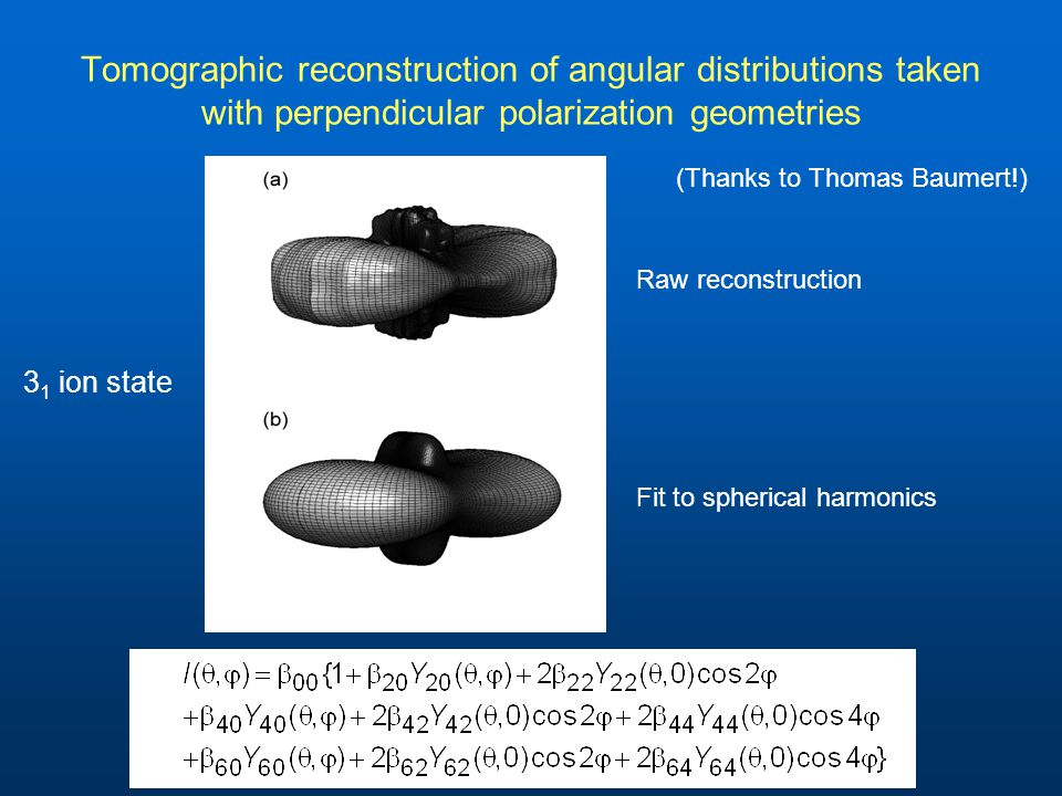 Tomographic reconstruction of angular distributions taken with perpendicular polarization geometries (Thanks to Thomas Baumert!) 3 1 ion state Raw reconstruction Fit to spherical harmonics