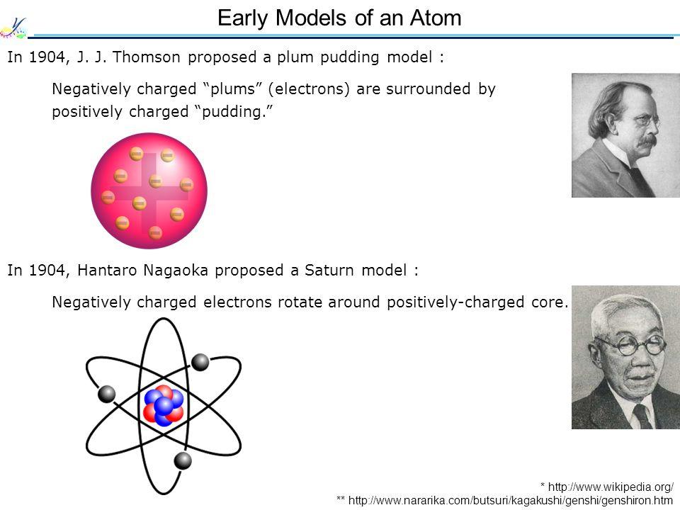 Early Models of an Atom In 1904, J. J.