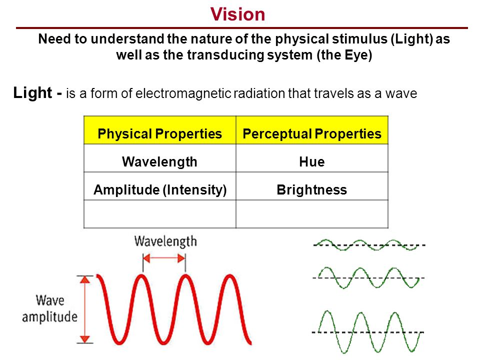 Vision Need to understand the nature of the physical stimulus (Light) as well as the transducing system (the Eye) Light - is a form of electromagnetic