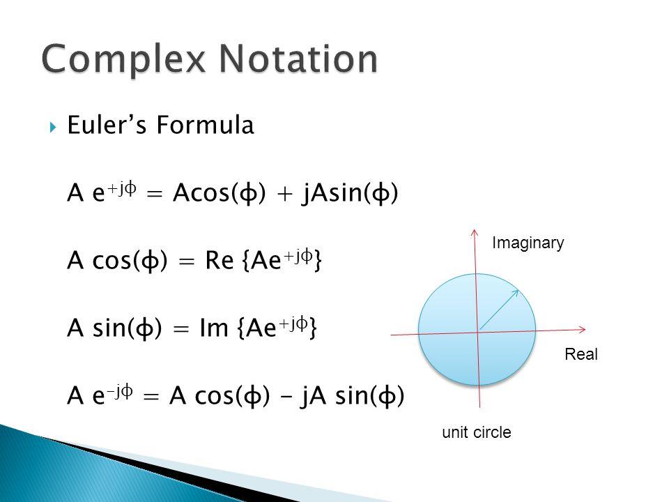  Euler's Formula A e +jφ = Acos(φ) + jAsin(φ) A cos(φ) = Re {Ae +jφ } A sin(φ) = Im {Ae +jφ } A e -jφ = A cos(φ) - jA sin(φ) unit circle Real Imaginary