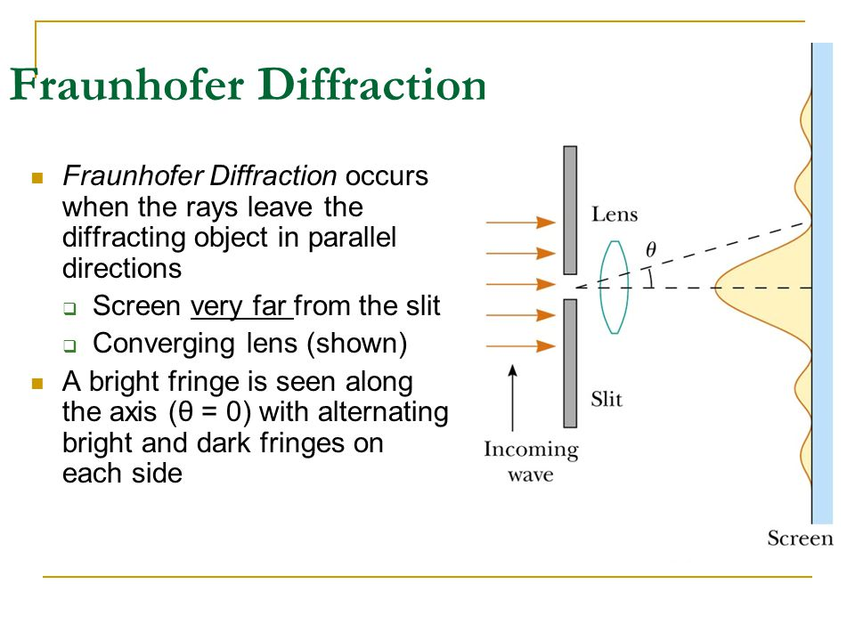 Fraunhofer Diffraction Fraunhofer Diffraction occurs when the rays leave the diffracting object in parallel directions  Screen very far from the slit