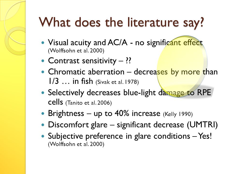 What does the literature say. Visual acuity and AC/A - no significant effect (Wolffsohn et al.