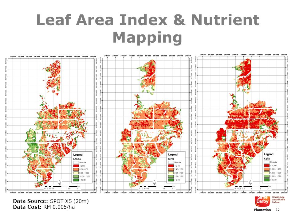 13 Leaf Area Index & Nutrient Mapping Data Source: SPOT-XS (20m) Data Cost: RM 0.005/ha