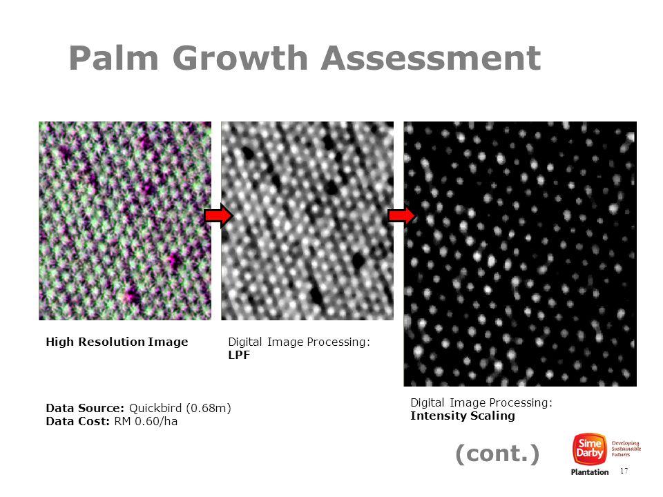 17 Data Source: Quickbird (0.68m) Data Cost: RM 0.60/ha Palm Growth Assessment High Resolution ImageDigital Image Processing: LPF Digital Image Processing: Intensity Scaling (cont.)