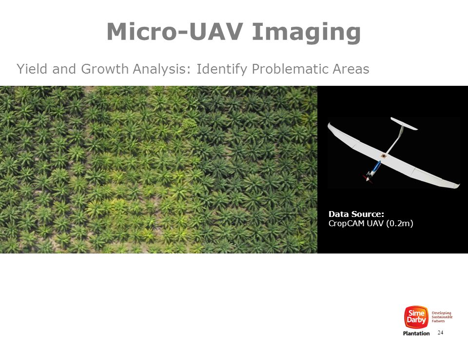 24 Data Source: CropCAM UAV (0.2m) Yield and Growth Analysis: Identify Problematic Areas Micro-UAV Imaging