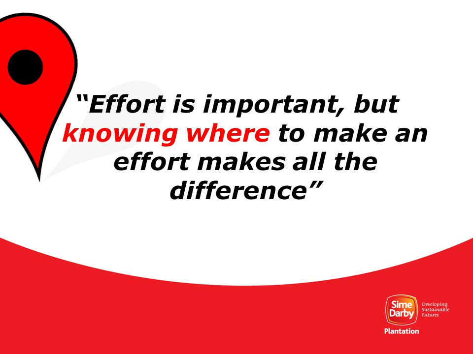 29 Effort is important, but knowing where to make an effort makes all the difference