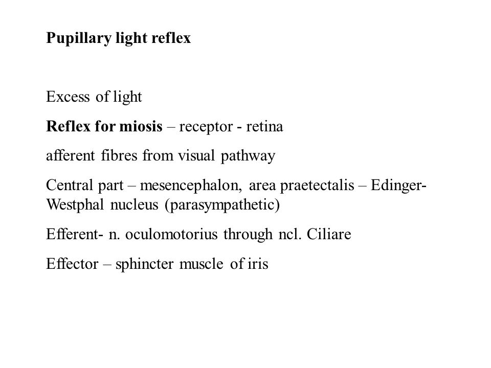 Pupillary light reflex Excess of light Reflex for miosis – receptor - retina afferent fibres from visual pathway Central part – mesencephalon, area pr