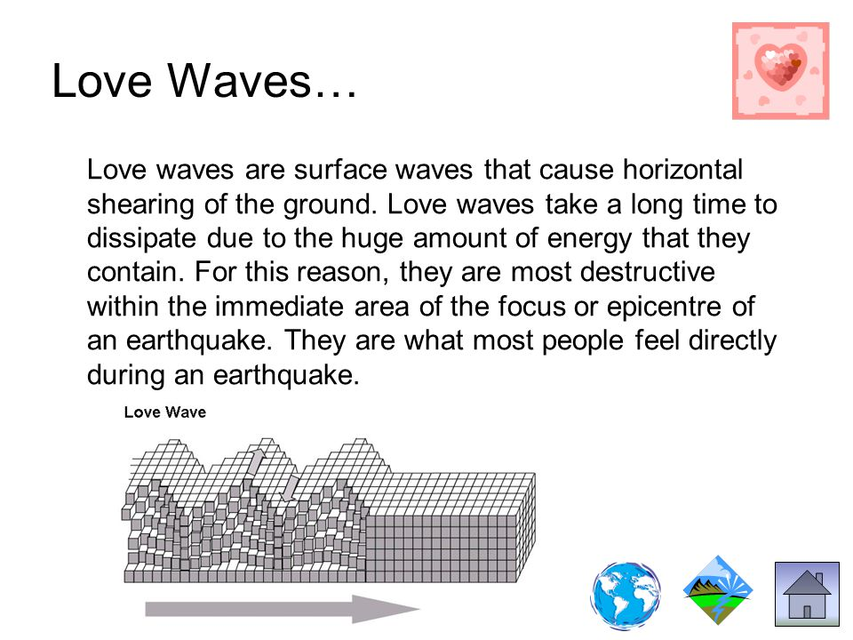 Love Waves… Love waves are surface waves that cause horizontal shearing of the ground.