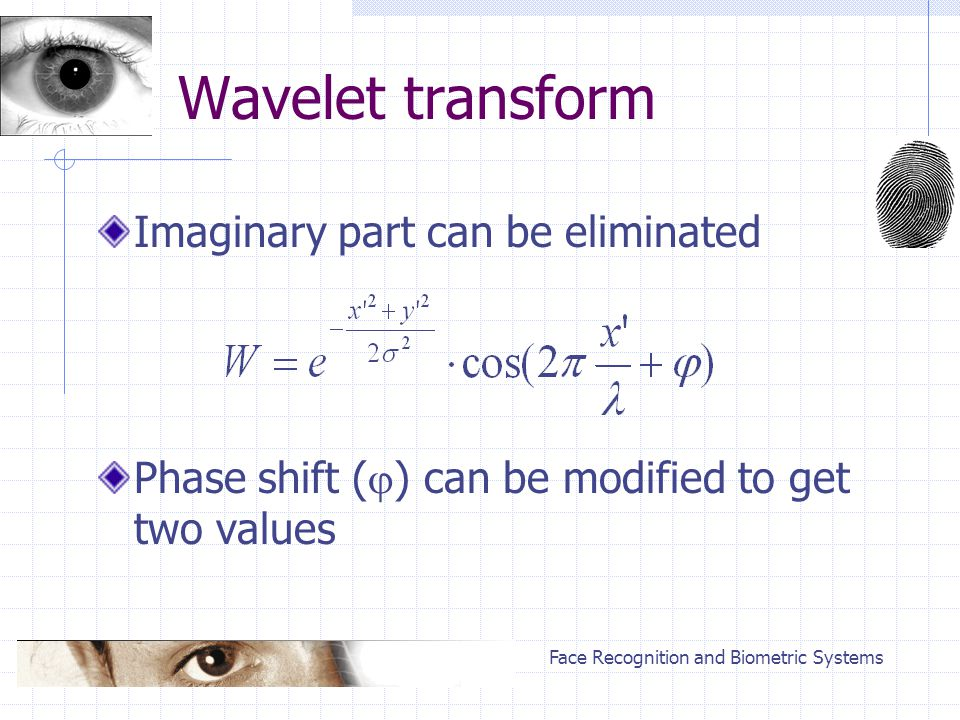 Face Recognition and Biometric Systems Wavelet transform Imaginary part can be eliminated Phase shift (  ) can be modified to get two values