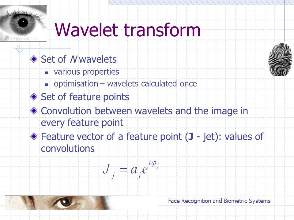 Face Recognition and Biometric Systems Wavelet transform Set of N wavelets various properties optimisation – wavelets calculated once Set of feature points Convolution between wavelets and the image in every feature point Feature vector of a feature point (J - jet): values of convolutions