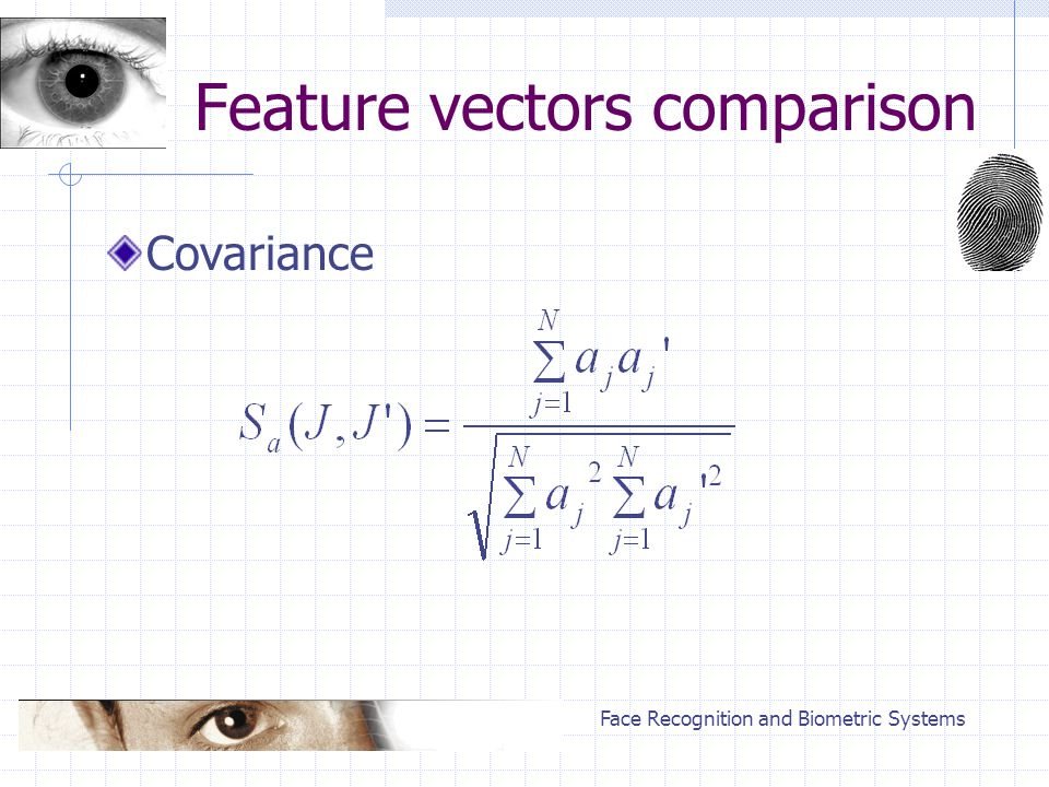 Face Recognition and Biometric Systems Feature vectors comparison Covariance