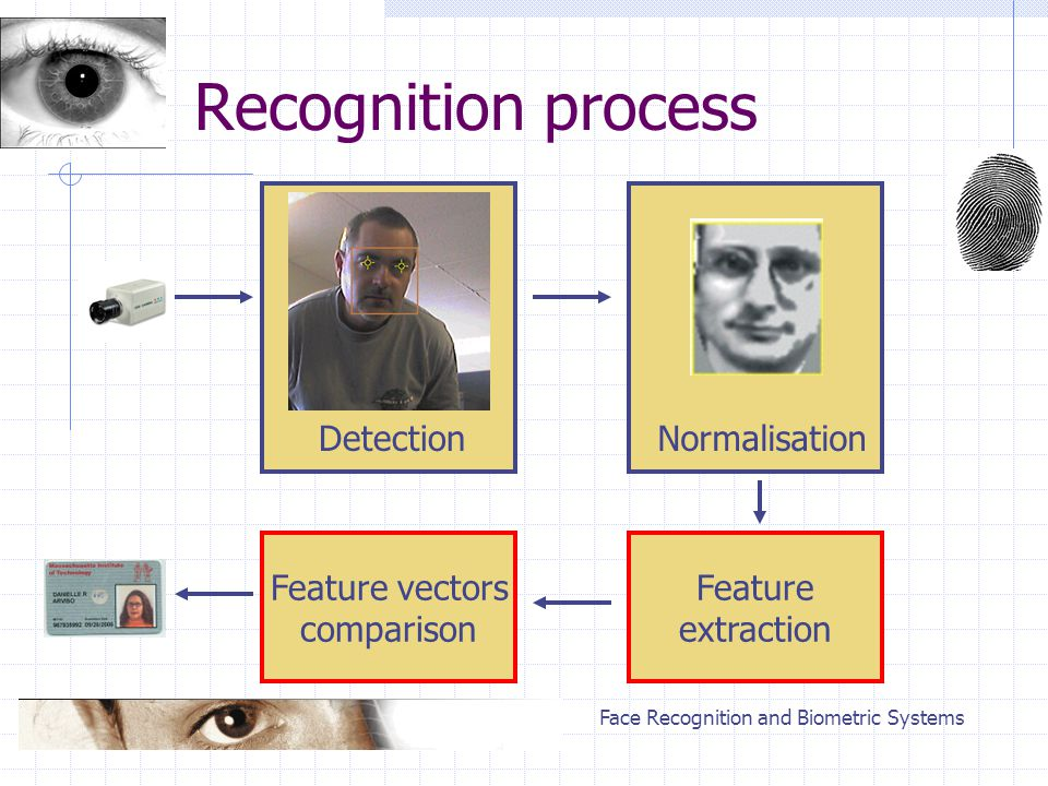 Face Recognition and Biometric Systems Recognition process DetectionNormalisation Ekstrakcja cech Feature vectors comparison Feature extraction