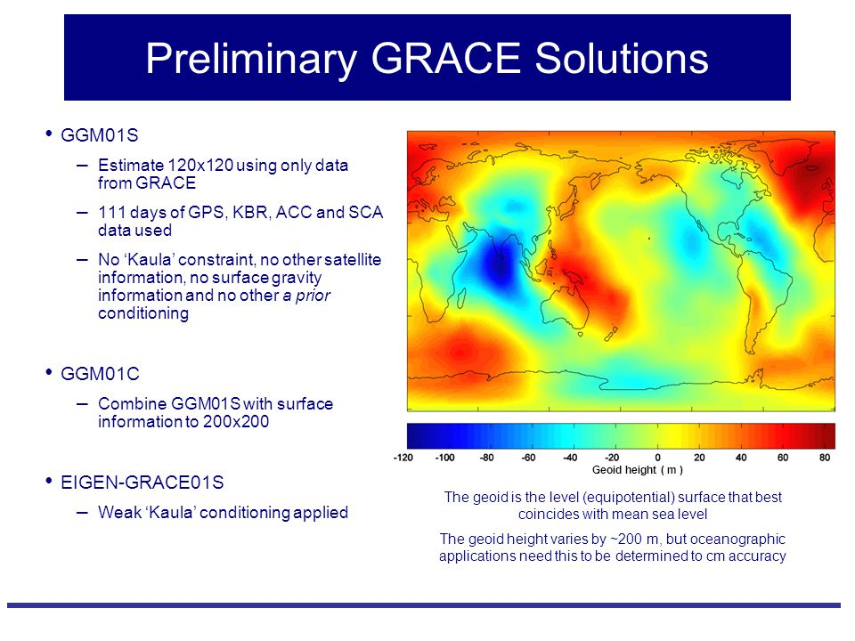 Preliminary GRACE Solutions GGM01S – Estimate 120x120 using only data from GRACE – 111 days of GPS, KBR, ACC and SCA data used – No 'Kaula' constraint, no other satellite information, no surface gravity information and no other a prior conditioning GGM01C – Combine GGM01S with surface information to 200x200 EIGEN-GRACE01S – Weak 'Kaula' conditioning applied The geoid is the level (equipotential) surface that best coincides with mean sea level The geoid height varies by ~200 m, but oceanographic applications need this to be determined to cm accuracy Geoid height ( m )