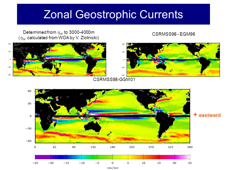 Zonal Geostrophic Currents Determined from  rel to 3000-4000m (  rel calculated from WOA by V.