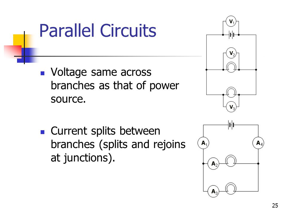 25 Parallel Circuits Voltage same across branches as that of power source.