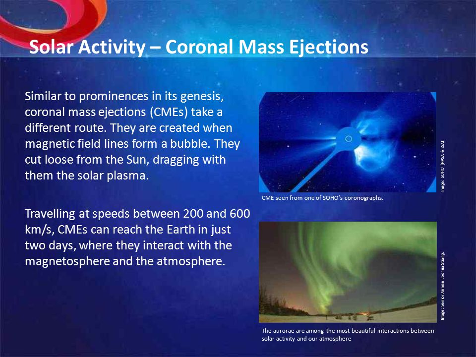 Solar Activity – Coronal Mass Ejections Similar to prominences in its genesis, coronal mass ejections (CMEs) take a different route.