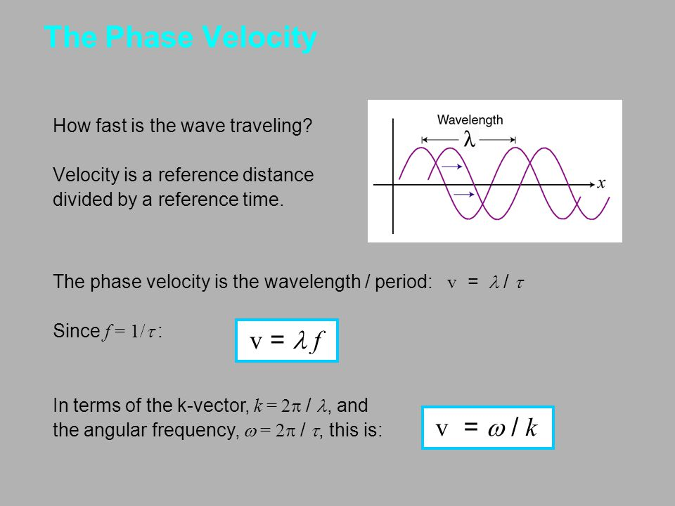 The Phase Velocity How fast is the wave traveling? Velocity is a reference distance divided by a reference time. The phase velocity is the wavelength