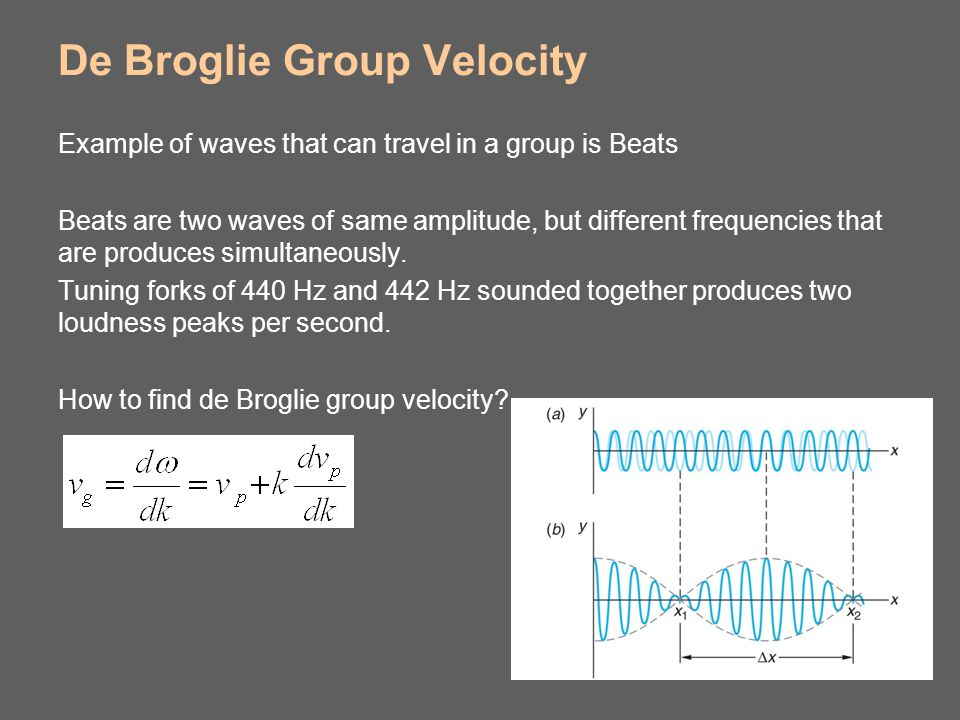 De Broglie Group Velocity Example of waves that can travel in a group is Beats Beats are two waves of same amplitude, but different frequencies that a