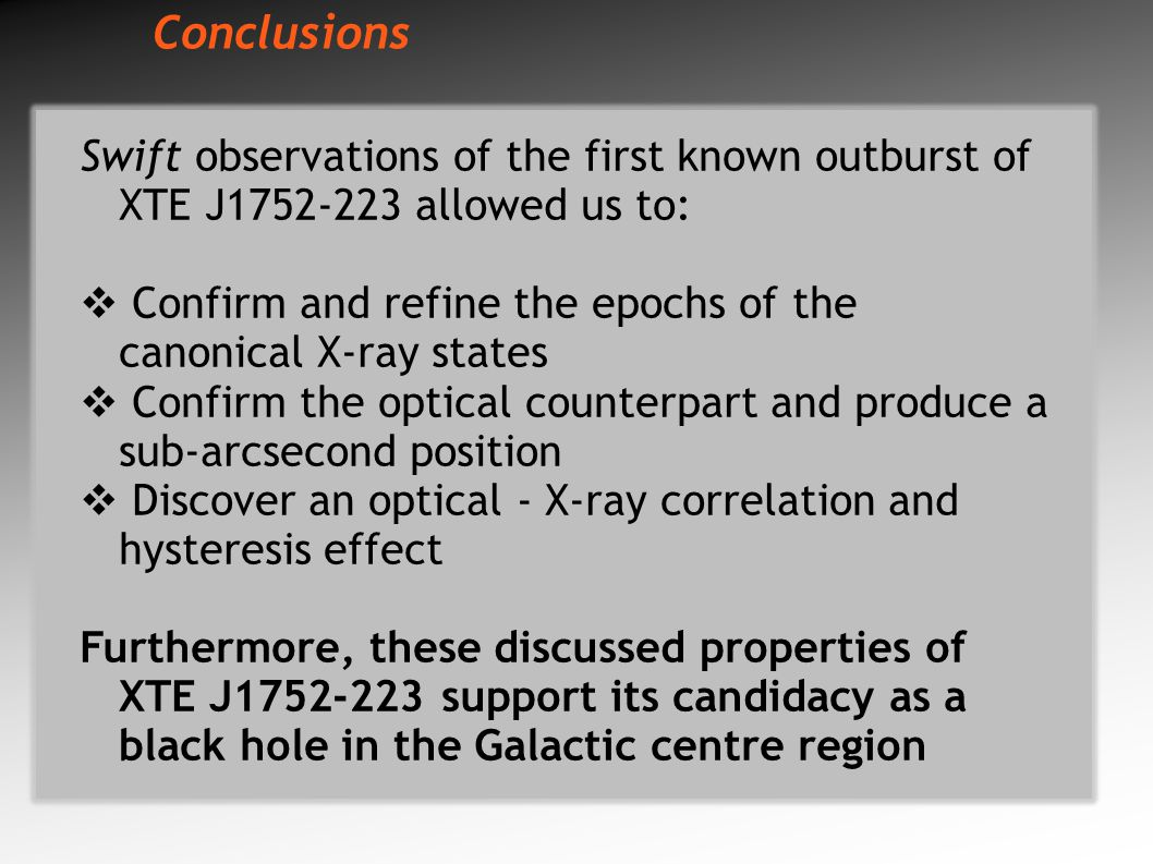 Conclusions Swift observations of the first known outburst of XTE J1752-223 allowed us to:  Confirm and refine the epochs of the canonical X-ray states  Confirm the optical counterpart and produce a sub-arcsecond position  Discover an optical - X-ray correlation and hysteresis effect Furthermore, these discussed properties of XTE J1752-223 support its candidacy as a black hole in the Galactic centre region