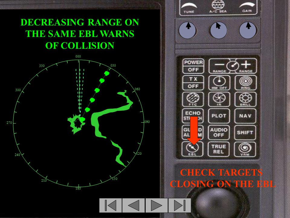 CHECK TARGETS CLOSING ON THE EBL BACK 000 030 060 090 120 150 180 210 240 270 300 330 DECREASING RANGE ON THE SAME EBL WARNS OF COLLISION