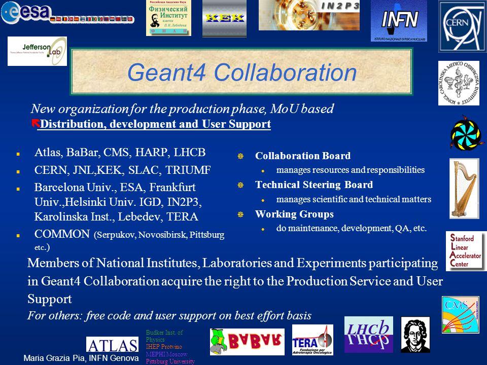 Maria Grazia Pia, INFN Genova Geant4 Collaboration n Atlas, BaBar, CMS, HARP, LHCB n CERN, JNL,KEK, SLAC, TRIUMF n Barcelona Univ., ESA, Frankfurt Univ.,Helsinki Univ.