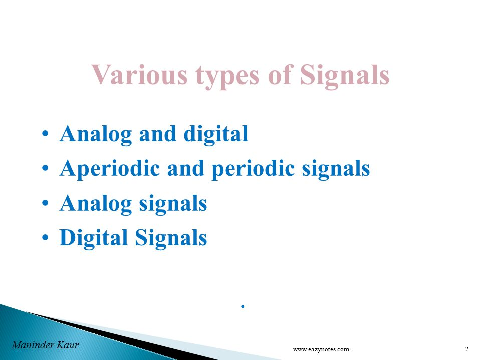 Various types of Signals Analog and digital Aperiodic and periodic signals Analog signals Digital Signals.