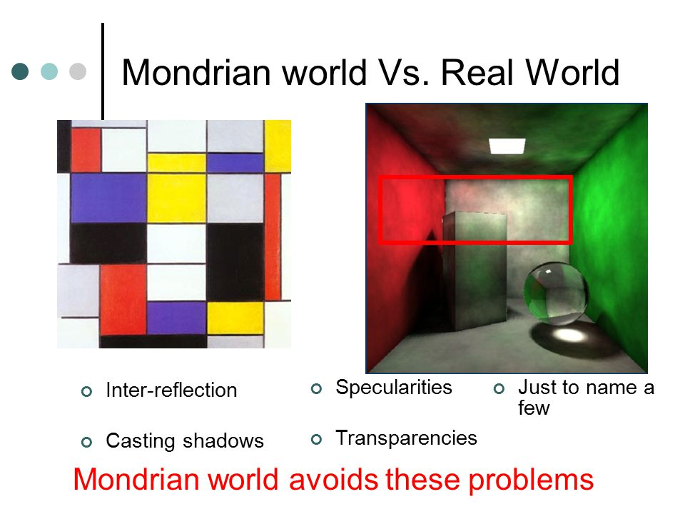 Mondrian world Vs. Real World Inter-reflection Casting shadows Mondrian world avoids these problems Specularities Transparencies Just to name a few