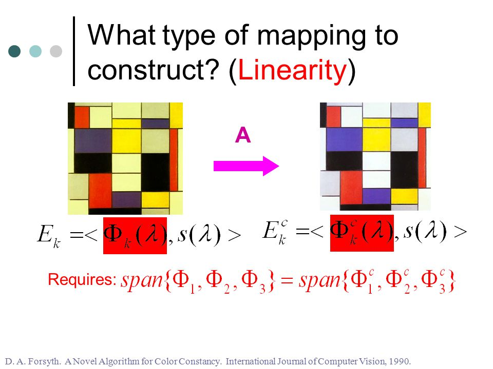 What type of mapping to construct. (Linearity) A Requires: D.
