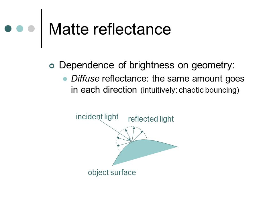 Matte reflectance Dependence of brightness on geometry: Diffuse reflectance: the same amount goes in each direction (intuitively: chaotic bouncing) ob
