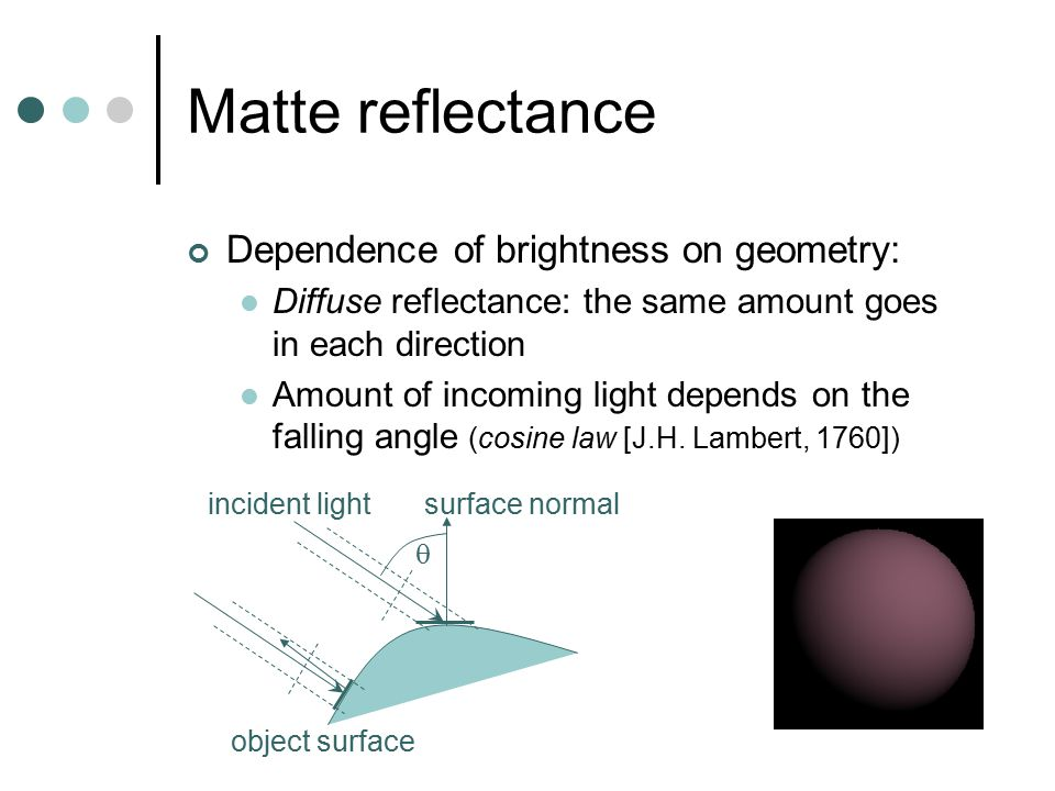 Matte reflectance Dependence of brightness on geometry: Diffuse reflectance: the same amount goes in each direction Amount of incoming light depends on the falling angle (cosine law [J.H.