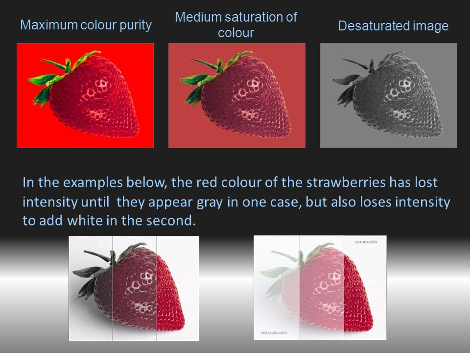 Maximum colour purity In the examples below, the red colour of the strawberries has lost intensity until they appear gray in one case, but also loses intensity to add white in the second.