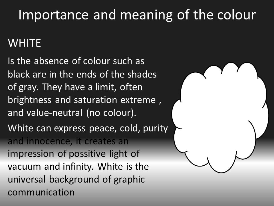 Importance and meaning of the colour WHITE Is the absence of colour such as black are in the ends of the shades of gray.