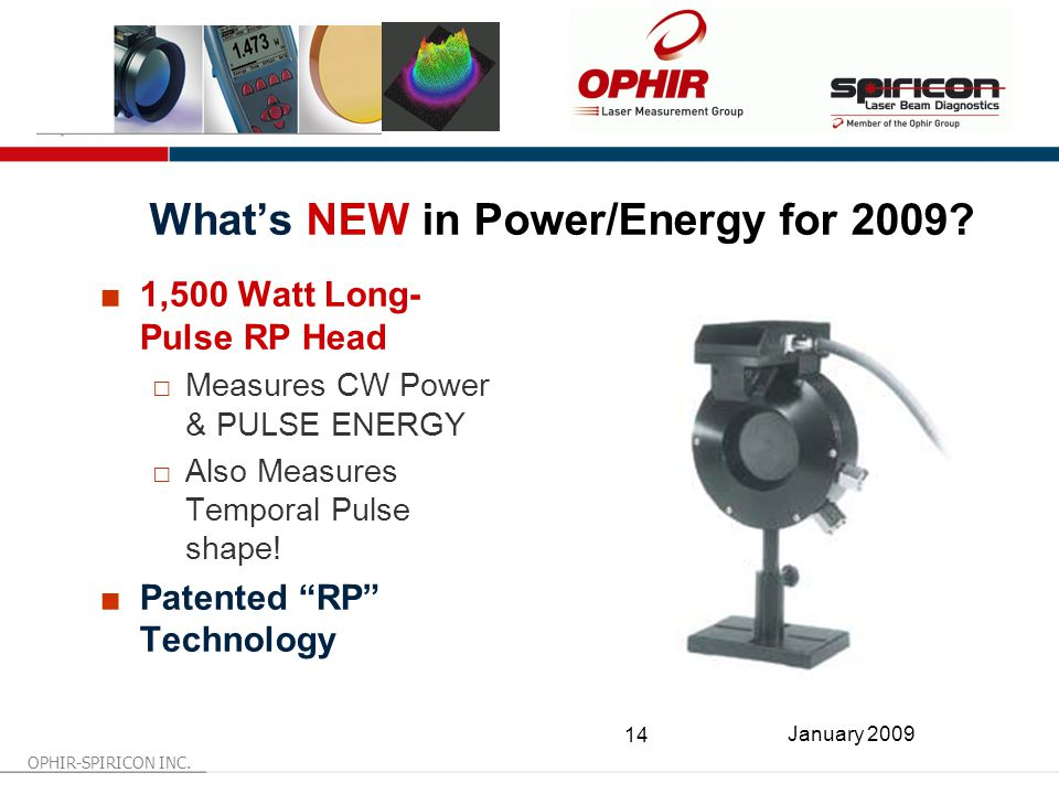 OPHIR-SPIRICON INC. 14 January 2009 What's NEW in Power/Energy for 2009.