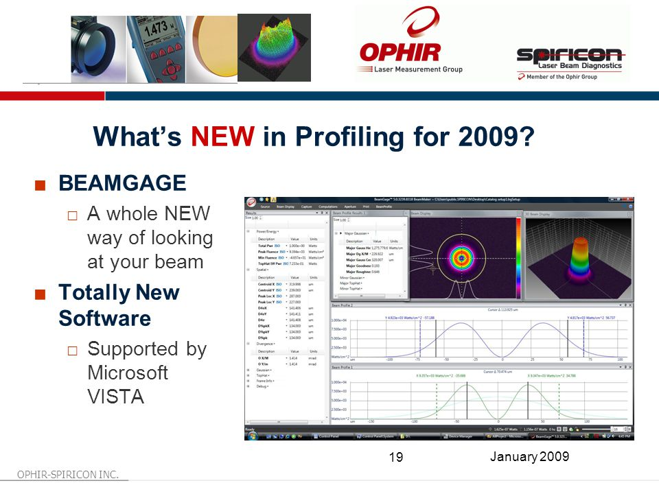 OPHIR-SPIRICON INC. 19 January 2009 What's NEW in Profiling for 2009.
