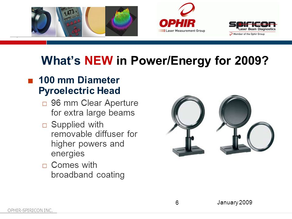 OPHIR-SPIRICON INC. 6 January 2009 What's NEW in Power/Energy for 2009.