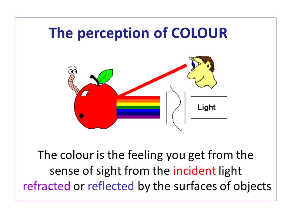 The perception of COLOUR The colour is the feeling you get from the sense of sight from the incident light refracted or reflected by the surfaces of objects