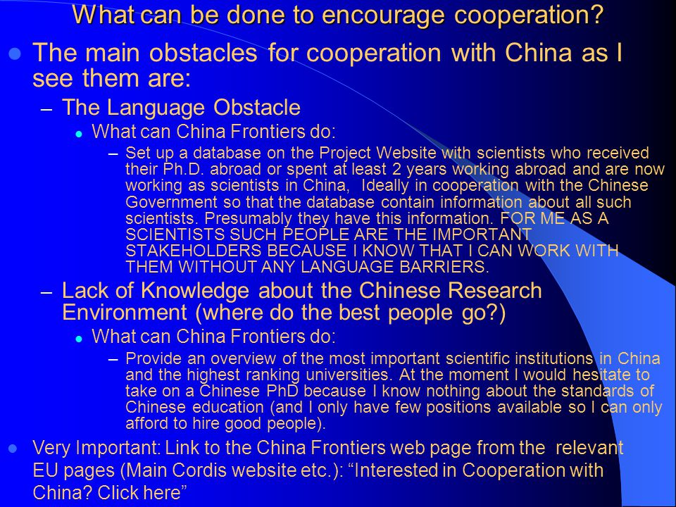 What can be done to encourage cooperation.