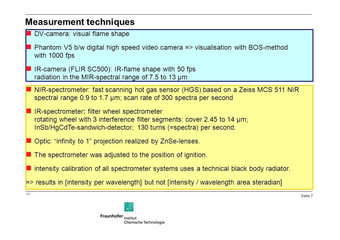 Seite 7 VW Measurement techniques DV-camera: visual flame shape Phantom V5 b/w digital high speed video camera => visualisation with BOS-method with 1