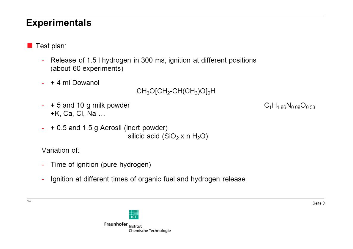 Seite 9 VW Experimentals Test plan: -Release of 1.5 l hydrogen in 300 ms; ignition at different positions (about 60 experiments) -+ 4 ml Dowanol CH 3