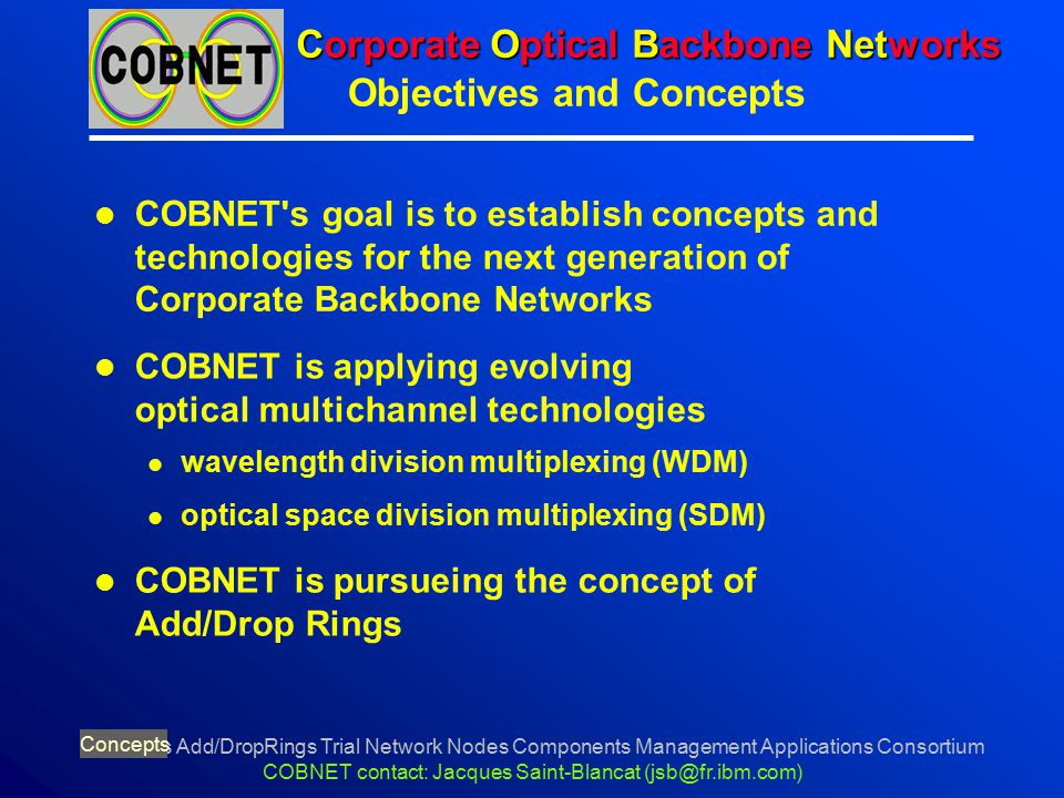 Concepts Add/DropRings Trial Network Nodes Components Management Applications Consortium COBNET contact: Jacques Saint-Blancat (jsb@fr.ibm.com) Corpor