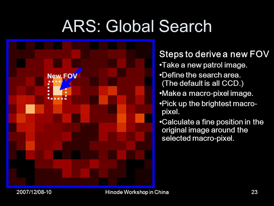 2007/12/08-10Hinode Workshop in China23 ARS: Global Search Steps to derive a new FOV Take a new patrol image.
