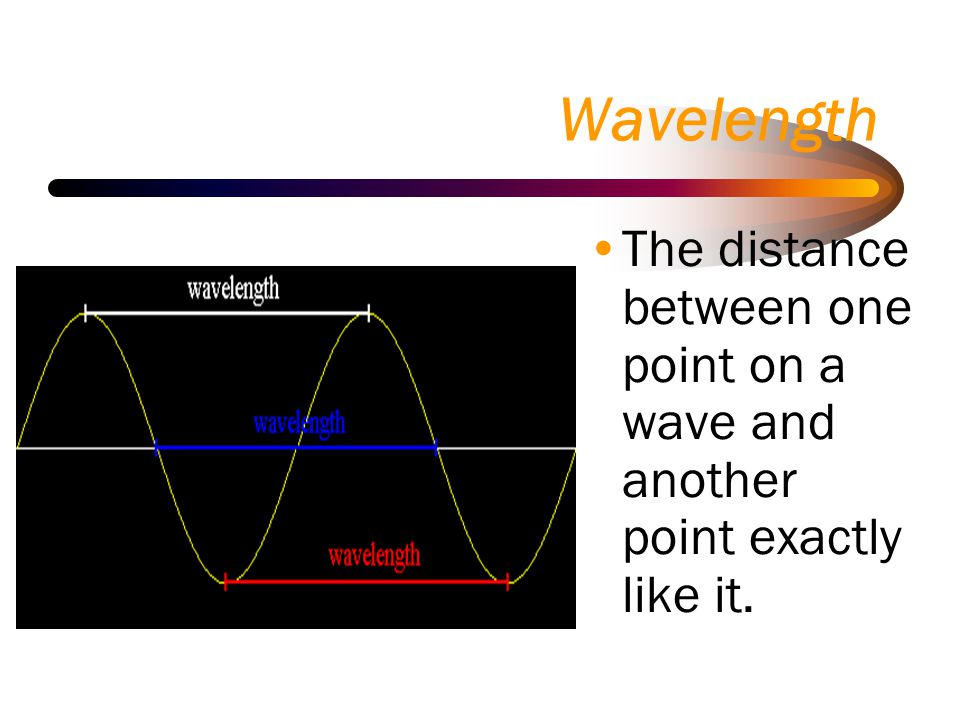 Wavelength The distance between one point on a wave and another point exactly like it.