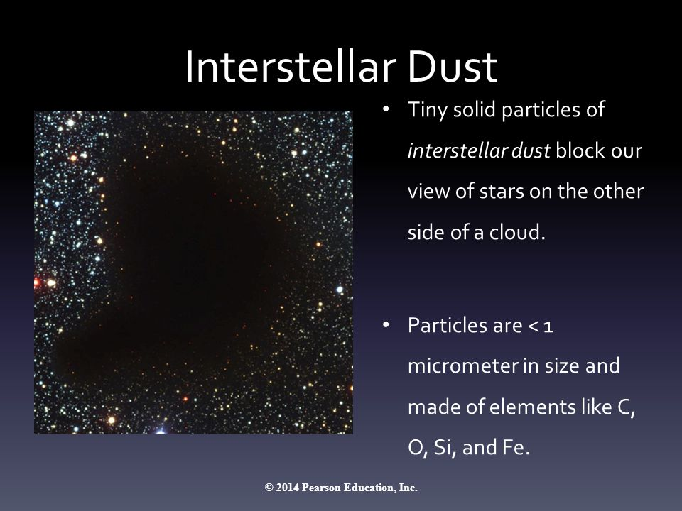 Interstellar Dust Tiny solid particles of interstellar dust block our view of stars on the other side of a cloud. Particles are < 1 micrometer in size